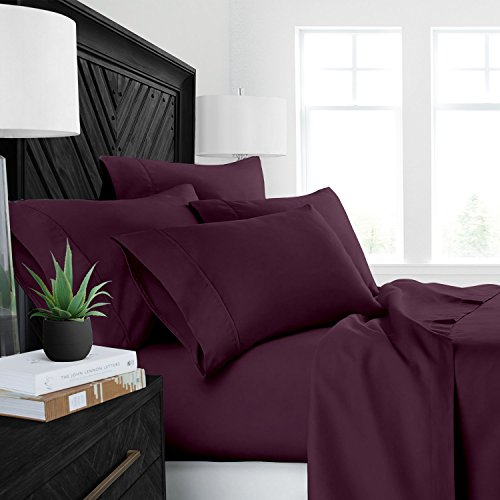 Sleep Restoration Luxury Bed Sheets with All-Natural Pure Aloe Vera Treatment – Eco-Friendly, Hypoallergenic 4-Piece Sheet Set Infused with Soothing/Moisturizing Aloe Vera – Queen – Purple