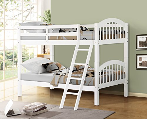 Harper&Bright Designs Twin-Over-Twin Solid Hardwood Bunk Bed (White)