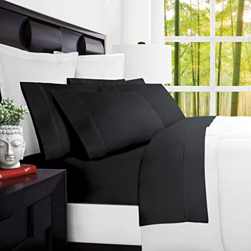 Mandarin Home Luxury 100 Percent Rayon Derived From Bamboo Bed Sheets – Eco-friendly, Hypoallergenic and Wrinkle Resistant – 4-Piece – (Queen, Black)