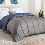 LINENSPA All-Season Reversible Down Alternative Quilted Comforter – Corner Duvet Tabs – Hypoallergenic – Plush Microfiber Fill – Box Stitched – Machine Washable – Navy / Graphite – Queen