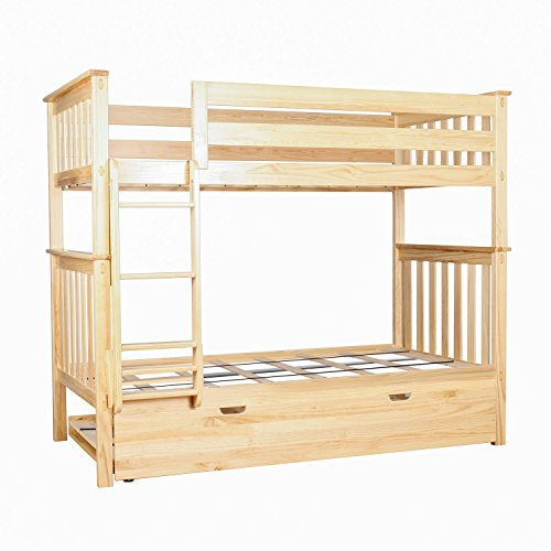Max & Lily Solid Wood Twin over Twin Bunk Bed with Trundle Bed, Natural