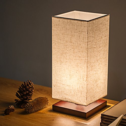 Bedside Table Lamp, Zzkoo 13″ Minimalist Nightstand Desk Lamp with Solid Wood Base and Square Flaxen Fabric Shade for Bedroom,Living Room,Dresser,Kids Room,Baby Room,Bookcase (Rectangle)