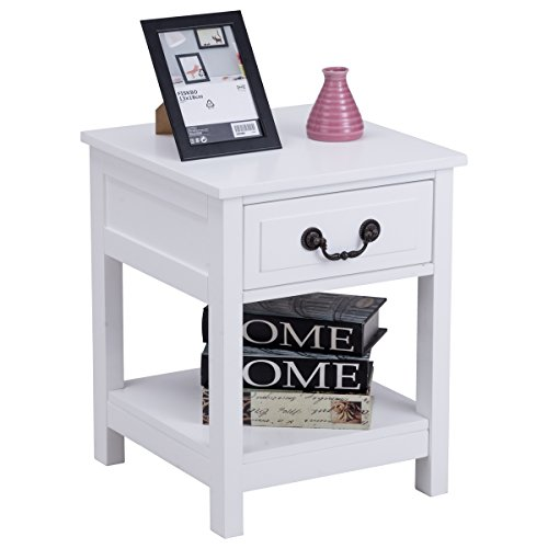 Giantex Night Stand for Bedrooms End Table with Storage Drawer & Display Shelf Storage Bedside Cabinet, White