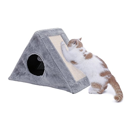 PAWZ Road 2-in-1 Cat Bed Kitty Scratch Post Foldable and Durable Gray