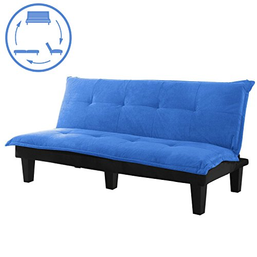 Sofa Bed Convertible Futon – Modern Convertible Futon Sofa Bed With Wood Legs Quickly Converts into a Bed by CloudWave (blue)