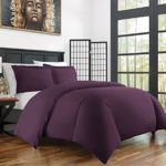 Zen Bamboo Ultra Soft 3-Piece Bamboo Derived Rayon Duvet Cover Set – Hypoallergenic and Wrinkle Resistant – Full/Queen – Purple