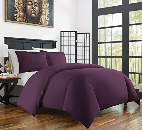 Zen Bamboo Ultra Soft 3-Piece Bamboo Derived Rayon Duvet Cover Set –Hypoallergenic and Wrinkle Resistant – Full/Queen – Purple