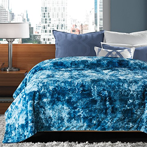 Chanasya Super Soft Fuzzy Fur Faux Fur Cozy Warm Fluffy Beautiful Color Variation Print Plush Sherpa Dark Blue Fur King Microfiber Bed Blanket ( KING )- Blue