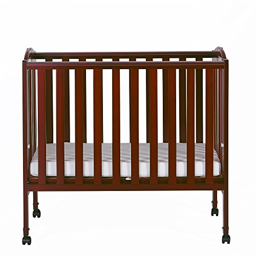 Dream On Me 2 in 1 Portable Folding Stationary Side Crib, Cherry