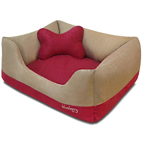 Blueberry Pet Heavy Duty Microsuede Overstuffed Bolster Lounge Dog Bed, Removable & Washable Cover w/YKK Zippers, 25″ x 21″ x 10″, 6 Lbs, Beige and Red Color-block Beds for Cats & Dogs