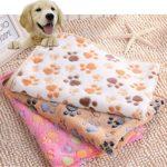 Pet Dog Cat Bed Mats Blanket Soft Coral Fleece Towl Doormat with Paw Print (Medium (7652CM), Beige)