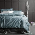 Solid Color Egyptian Cotton Duvet Cover Luxury Bedding Set High Thread Count Long Staple Sateen Weave Silky Soft Breathable Pima Quality Bed Linen (Queen, Stormy Sea)