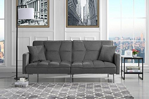 Modern Plush Tufted Velvet Splitback Living Room Sleeper Futon (Dark Grey)