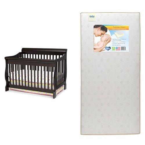 Delta Children Canton 4-in-1 Crib, Dark Chocolate with Twinkle Stars Crib & Toddler Mattress