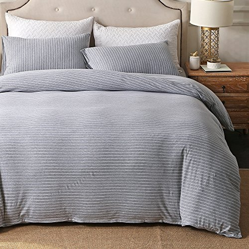 PURE ERA Striped Duvet Cover Set Jersey Knit Cotton Ultra Soft Comfy Zippered Luxury Bedding Sets 3 Piece With Corner Ties – Grey White Queen
