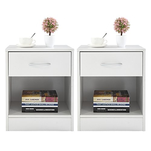 LAZYMOON Set of 2 Nightstand 2 Layer Bedside End Table Organizer Bedroom Nightstand, White