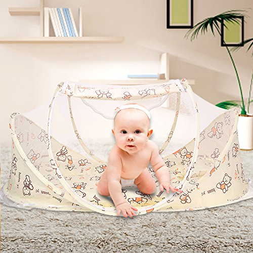 SINOTOP Baby Mosquito Ded Portable for Travel, Baby Bed Folding Baby Crib Mosquito Net Portable Baby Cots for 0-18 Month Baby (style 3)