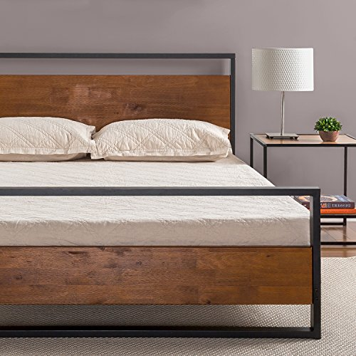 Zinus Ironline Metal and Wood Platform Bed with Headboard and Footboard / Box Spring Optional / Wood Slat Support, Full