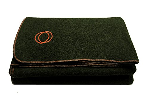 "Orion Blanket Co. ""Vestige"" Military Wool Blanket, Approximately 4 lbs, We Donate a Blanket for Every 5 Sold, 4.2+ lbs, 66″ x 84″ (Green/Orange Stitching)"