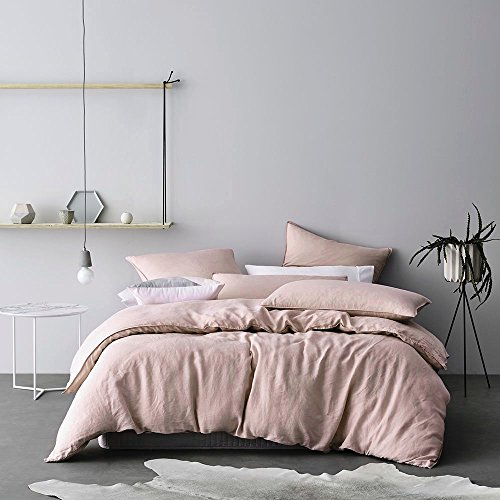 Washed Cotton Chambray Duvet Cover Solid Color Casual Modern Style Bedding Set Relaxed Soft Feel Natural Wrinkled Look (King, Pastel Blush)