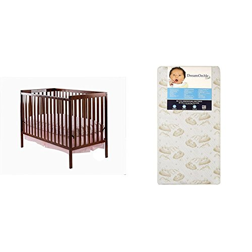 Dream On Me Synergy 5-in-1 Convertible, Crib + Mattress, Espresso