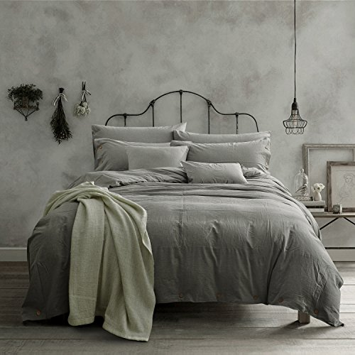 Doffapd Duvet Cover Queen, Washed Cotton Duvet Cover Set – 3 Piece (Queen, Light Gray)