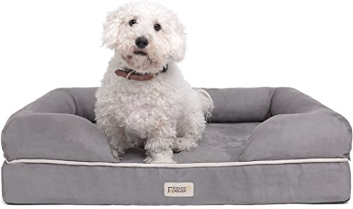 Friends Forever 100% Suede Small Dog Bed / Lounge, Prestige Edition (20″ x 25″ x 5″) (Pewter S)