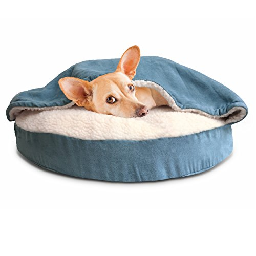 FurHaven Round Snuggery Burrow Pet Bed, Blue, 26″