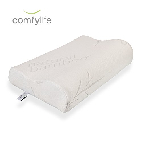 Hypoallergenic Bamboo Memory Foam Contour Pillow – Antimicrobial Dust Mite Resistant A Firm Flexible Therapeutic Posturepedic Pillow for Sound Sleep and Reduced Neck and Shoulder Pain (22 x 14 in)
