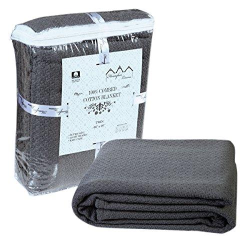 100% Premium Soft Cotton Blanket – Queen Blanket- Thermal Blankets – Soft Cozy & Warm Cotton Blankets- Throw Blankets For Couch- Queen Size Bed Blankets – Grey Queen Cotton Blanket By HOMEFAIR LINENS