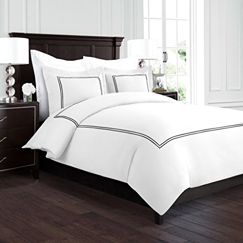 Beckham Hotel Collection Luxury Soft Brushed 2100 Series Embroidered Microfiber Duvet Cover Set with Beautiful 2-Stripe Embroidery – Hypoallergenic –King/California King – White/Black