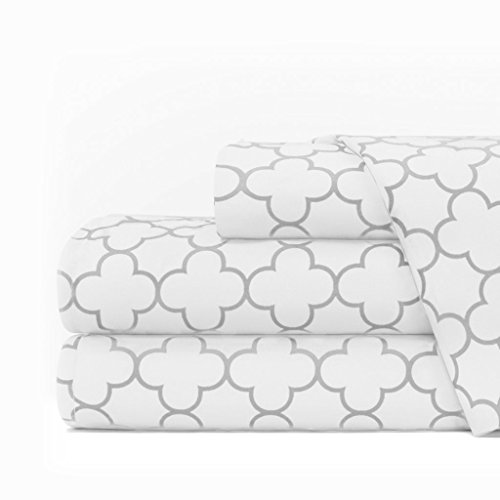 Egyptian Luxury 1600 Series Hotel Collection Clover Pattern Bed Sheet Set – Deep Pockets, Wrinkle and Fade Resistant, Hypoallergenic Sheet and Pillowcase Set – Queen – White/Light Gray