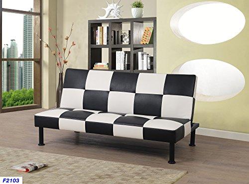 Beverly Fine Furniture F2103 Checkered Futon Sofa Bed, Black