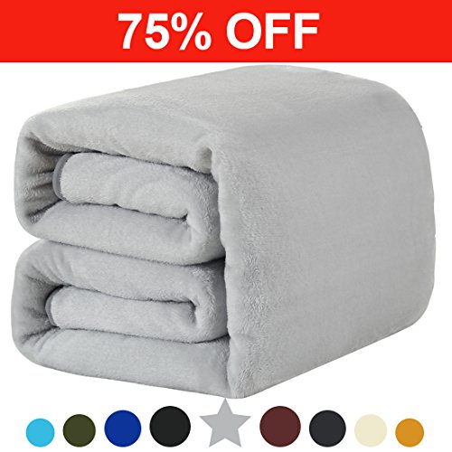 Fleece Twin Blanket 330 GSM Super Soft Warm Extra Silky Lightweight Bed Blanket, Couch Blanket, Travelling and Camping Blanket (Smoky Grey)