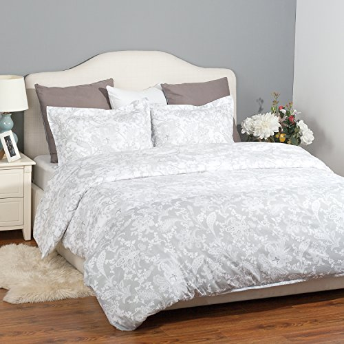 Floral Printed Bedding Set with Zipper Closure-Grey Design Duvet Cover Set ,Full/Queen (90″x90″)-3 Piece (1 Duvet Cover + 2 Pillow Shams)-Ultra Soft Hypoallergenic Microfiber by Bedsure