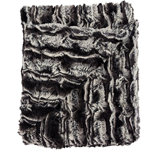 """Posh Designs Ultra Soft Baby Receiving Blanket – Luscious, Luxurious and Cuddly Minky Reversible Blankie – Midnight Fur – 30"""" x 36"""" – by"""