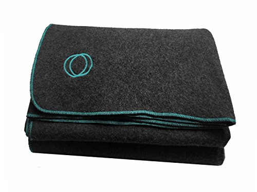 """Orion Blanket Co. """"Vestige"""" Military Wool Blanket, Approximately 4 lbs, We Donate 1 Blanket for Every 5 Sold, 66″ x 84″ (Gray/Lt Blue Stitching)"""