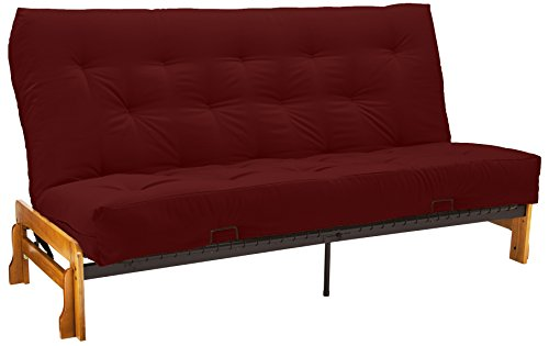 True 8-inch Loft Cotton/Foam Futon Mattress, Queen-size, Twill Red Mattress Color