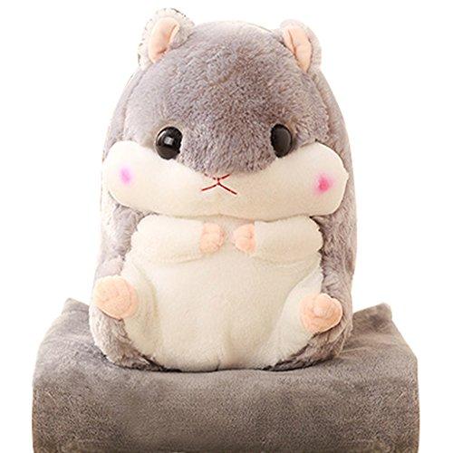 KOSBON 2 In 1 Cute Hamster Plush Stuffed Animal Toys Throw Pillow Blanket Set. (Grey)