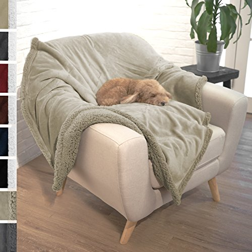 Premium Plush Soft Sherpa Pet Dog Blanket by PetAmi | Soft, Cozy, Comfortable, Lightweight Microfiber | Ideal for Dog, Cat, and Pet (50″ x 40″, Taupe/Taupe Sherpa)