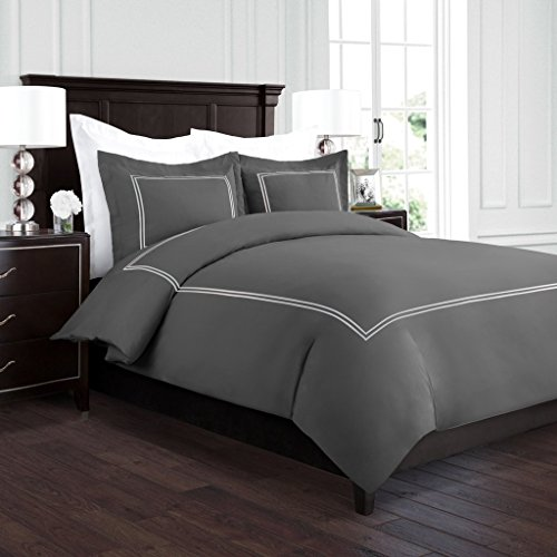 Beckham Hotel Collection Luxury Soft Brushed 2100 Series Embroidered Microfiber Duvet Cover Set with Beautiful 2-Stripe Embroidery – Hypoallergenic –Full/Queen – Gray/Silver