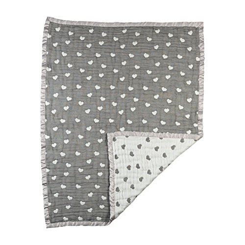 Living Textiles Cotton Muslin Jacquard Baby Blanket – Sketched Hearts