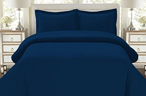 Hotel Luxury 3pc Duvet Cover Set-1500 Thread Count Egyptian Quality Ultra Silky Soft Top Quality Premium Bedding Collection -Queen Size Navy Blue