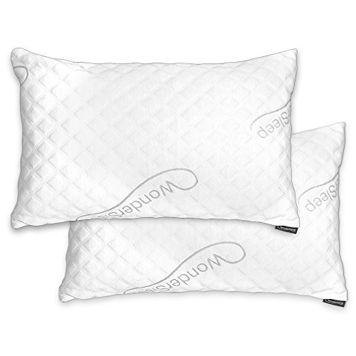 WonderSleep PREMIUM Adjustable Loft [Queen Size 2-Pack] – Shredded Hypoallergenic Memory Foam Pillow For Home & Hotel Collection + Washable Removable Cooling Bamboo Derived Rayon Cover – 2 Pack Queen