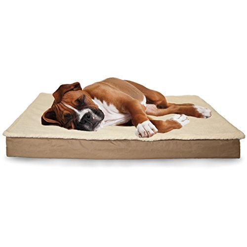 Furhaven Orthopedic Mattress Pet Bed, Large, Convertible Sand, for Dogs and Cats
