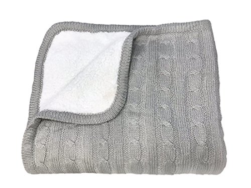 effe bebe Magnolia Cable Knit and Sherpa Baby Blanket 30″x40″ (Classic Grey)