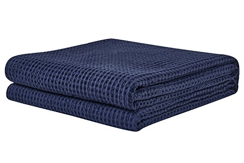 PHF Waffle Weave Blanket 100% Cotton Queen Size Navy