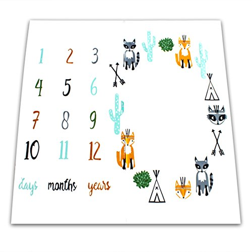 NinkyNonk Baby Photo Blanket Props Baby First Year Month to Month Photography Background, Cute Animals Style Milestone Blanket for Toddler boys girls