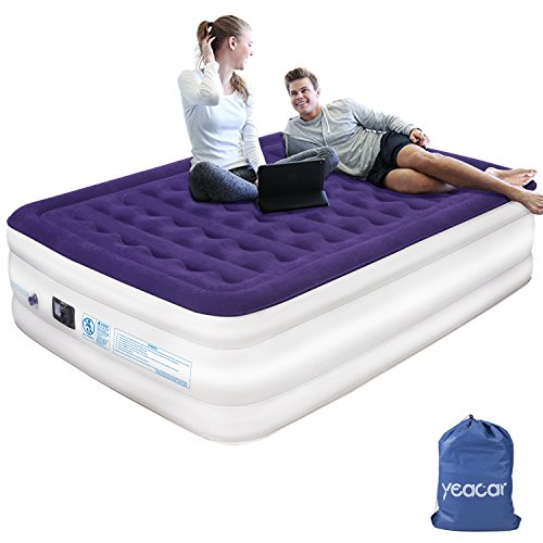yeacar Air Mattress Blow Up Raised Airbed with Internal High Capacity Pump, Portable Inflatable Bed Queen Size