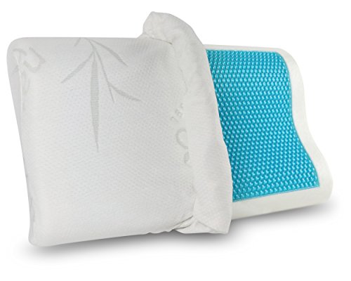 Hypoallergenic Bamboo Memory Foam Contour Pillow + Soothing Cool Gel Layer -Antimicrobial Dust Mite Resistant-Firm Flexible Therapeutic Posturepedic Pillow for Reduced Neck & Shoulder Pain (20×12)